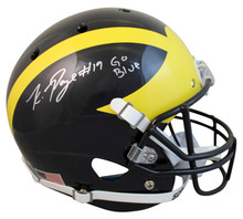 """Michigan Kwity Paye """"Go Blue"""" Signed Schutt Full Size Rep Helmet BAS Witnessed"""