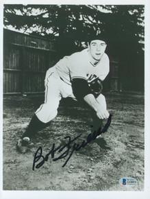 Pirates Bob Friend Authentic Signed 8x10 Black & White Photo BAS #AA48074