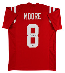 Ole Miss Elijah Moore Authentic Signed Red Pro Style Jersey Autographed BAS Wit