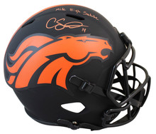 """Broncos Courtland Sutton """"MHS"""" Signed Eclipse Full Size Speed Rep Helmet BAS Wit"""