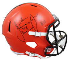 "Browns Jeremiah Owusu-Koramoah ""WTTDP"" Signed Full Size Speed Rep Helmet BAS Wit"
