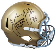 "Notre Dame Jeremiah Owusu-Koramoah ""2x Insc"" Signed F/S Speed Rep Helmet BAS Wit"