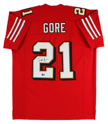 Frank Gore Authentic Signed Red Pro Style Jersey w/ Drop Shadow BAS Witnessed