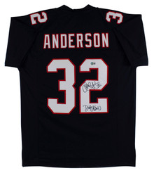 """Jamal Anderson """"Dirty Bird"""" Signed Black Pro Style Jersey BAS Witnessed"""