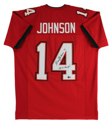 Brad Johnson SB 37 Champs Authentic Signed Red Pro Style Jersey BAS Witness