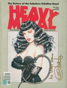 Olivia De Berardinis Signed July 1991 Heavy Metal Magazine BAS #BA74079