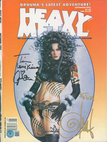 Olivia De Berardinis & Julie Strain Signed 1995 Heavy Metal Magazine Cover BAS