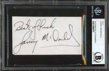 """Flames Lanny McDonald """"Best Of Luck"""" Signed 1.75x3.25 Cut Signature BAS Slabbed"""