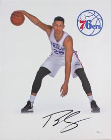 76ers Ben Simmons Authentic Signed 16x20 Canvas Autographed JSA #U24296