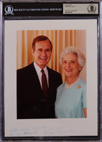 """George H.W. Bush """"With Warm Regards"""" Authentic Signed 8x10 Photo BAS Slabbed"""