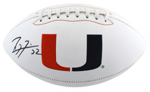 Miami Ray Lewis Authentic Signed White Panel Logo Football BAS Witnessed