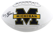 Michigan Kwity Paye Authentic Signed White Panel Logo Football BAS Witnessed