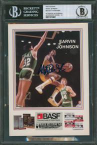 Lakers Magic Johnson Authentic Signed Promo 5x7 Photo Auto Graded 10 BAS Slabbed