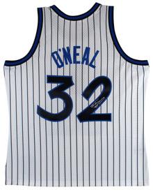 Magic Shaquille O'Neal Signed White M&N 1993-94 HWC Swingman Jersey BAS Witness