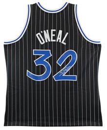 Magic Shaquille O'Neal Signed Black M&N 1994-95 HWC Swingman Jersey BAS Witness