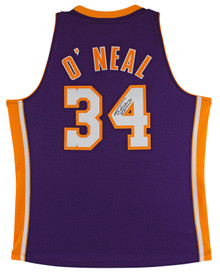 Lakers Shaquille O'Neal Signed Purple M&N 1999-00 HWC Swingman Jersey BAS Wit