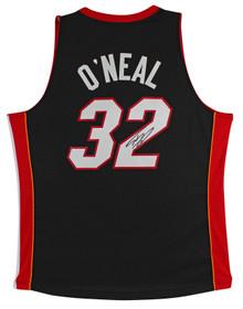 Heat Shaquille O'Neal Signed Black M&N 2005-06 HWC Swingman Jersey BAS Witnessed