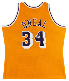 Lakers Shaquille O'Neal Signed Yellow M&N 1996-97 TB HWC Swingman Jersey BAS Wit