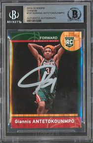 Bucks Giannis Antetokounmpo Signed 2013 Hoops Chinese #147 Rookie Card BAS Slab