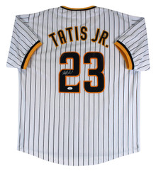Fernando Tatis Jr. Authentic Signed White Pinstripe Pro Style Jersey JSA