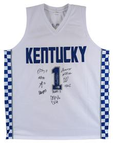 Kentucky (12) Calipari, Washington Collins Signed White Pro Style Jersey BAS Wit