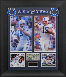 Colts Johnny Unitas Authentic Signed & Framed 3x5 Index Card BAS #AA03436