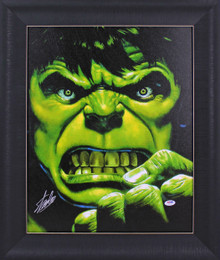 Stan Lee The Hulk Authentic Signed 16x20 Framed Canvas PSA/DNA #W18518
