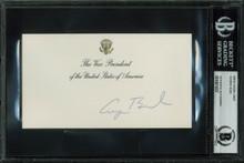George H.W. Bush Signed 3.5x6.25 Vice President White House Card BAS Slabbed