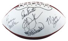 MNF (5) Michaels, Miller, Stark +2 Signed White Panel Nfl Football BAS #AA03941