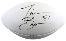 Raiders Tim Brown Authentic Signed White Panel Logo Football BAS #X71259