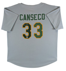 """Jose Canseco """"40/40"""" Authentic Signed Grey Pro Style Jersey BAS #Y07896"""
