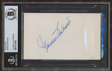 Canadiens Maurice Richard Authentic Signed 3x5 Index Card BAS Slabbed