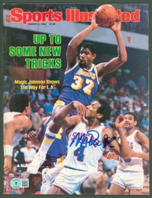 Lakers Magic Johnson Signed 1984 Sports Illustrated Magazine BAS Wit #WP80074