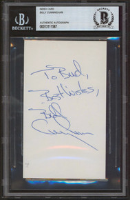 """76ers Billy Cunningham """"Best Wishes"""" Authentic Signed 3x5 Index Card BAS Slabbed"""