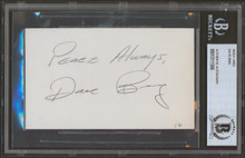 """Pistons Dave Bing """"Peace Always"""" Authentic Signed 3x5 Index Card BAS Slabbed"""