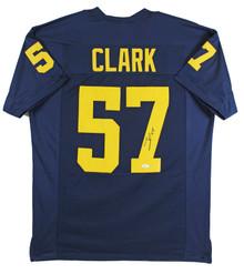 Michigan Frank Clark Authentic Signed Navy Blue Pro Style Jersey Autographed JSA