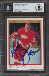 Red Wings Keith Primeau Signed 1990 O-Pee-Chee Premier #91 Card BAS Slabbed