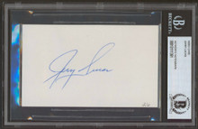 Knicks Jerry Lucas Authentic Signed 3x5 Index Card Autographed BAS Slabbed