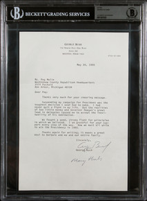 """George H.W. Bush """"Many Thanks"""" Authentic Signed 7x10.5 1980 Letter BAS Slabbed"""