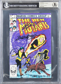 (3) Stan Lee,  Claremont & Mcleod Signed The New Mutants #1 Comic BAS Slabbed