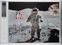 Eugene Cernan Apollo 17 Apollo XVII Authentic Signed 8x10 Photo BAS Slabbed