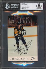 Penguins Mario Lemieux Authentic Signed 4x6 Photo Autographed BAS Slabbed