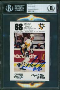 Penguins Mario Lemieux Authentic Signed 4x6 Photo Autographed BAS Slab