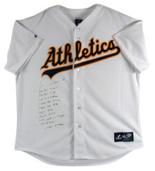 """Athletics Jose Canseco """"Career Stat"""" Signed White Majestic Jersey BAS #I87999"""