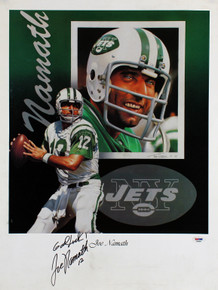 Jets Joe Namath Good Luck Authentic Signed 18x24 Poster Autographed PSA #F80004