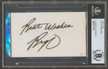 """Royals Oscar Robertson """"Best Wishes"""" Authentic Signed 3x5 Index Card BAS Slabbed"""