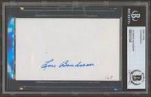 Indians Lou Boudreau Authentic Signed 3x5 Index Card Autographed BAS Slabbed