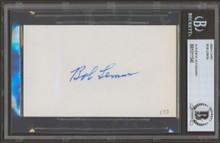 Indians Bob Lemon Authentic Signed 3x5 Index Card Autographed BAS Slab