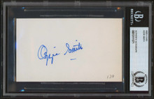 Cardinals Ozzie Smith Authentic Signed 3x5  Index Card Autographed BAS Slabbed