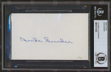 Dodgers Duke Snider Authentic Signed 3x5 Index Card Autographed BAS Slabbed